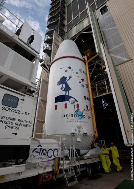 Gaia arrives on the Launchpad at Kourou, French Guyana, on 13th December