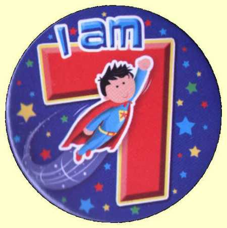 7th Birthday Badge Superhero