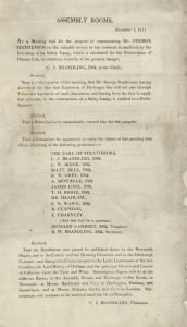 Committee for the Renumeration of George Stephenson for hi