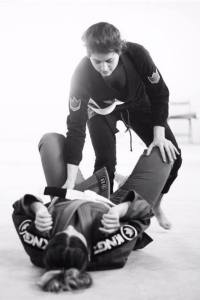 Author Samantha Usman training for competition in Brazilian jiu jitsu.