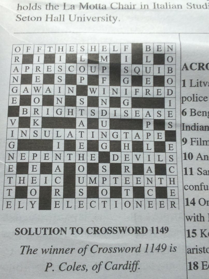 I like doing this crossword, as it involves an interesting mixture of  literary references and more usual cryptic clues. Also, the prize is not a  dictionary ...